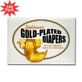 Gold plated diapers Rectangle Magnet (100 pack)