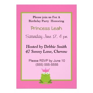 Princess Frog Birthday Invitation.