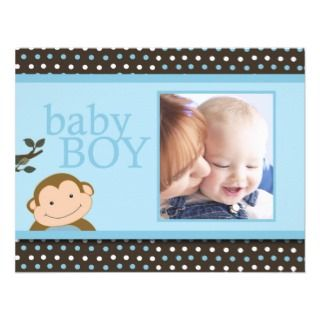 Cute Monkey Baby Boy Photo Birth Announcement