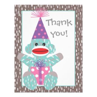 Baby Sock Monkey Birthday Thank you note card Personalized Invite