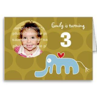 Cartoon Elephant Kid Birthday Invitation Card