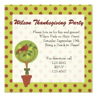 Partridge in a Pear Tree Custom Invitation