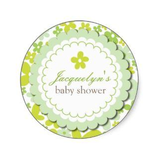 Baby Boy / Girl Flower Shower Favor Sticker