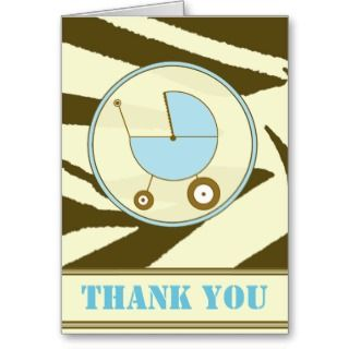 Brown Zebra Print / Blue Baby Carriage Thank You Greeting Card