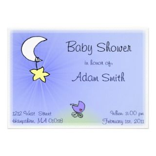 Baby buggy and moon   Baby boy shower invitations
