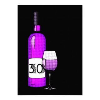 30th birthday  wine bottle & glass custom invitations