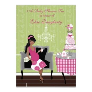 Little Teapot Girl African American Baby Shower Personalized Invites