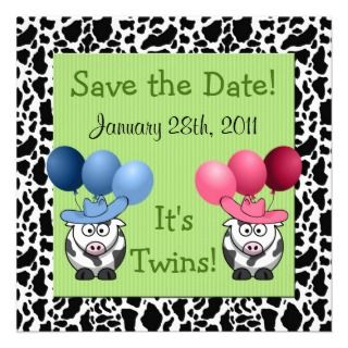 Western Fraternal Twins Baby Shower Save the Date Personalized Invite
