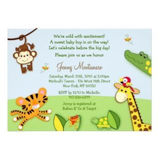 Sweet Safari Jungle Animal Baby Shower Invitations