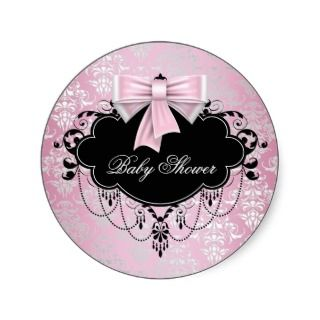 Pink Black Damask Pink Black Baby Shower Sticker
