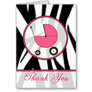 Black Zebra Print / Pink Baby Carriage Thank You Greeting Card