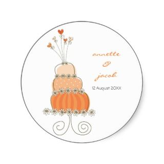 Orange Wedding Cake Thank You Gift Label Sticker
