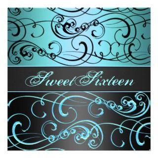 Sweet 16 Black/Blue Swirl Birthday Invitation