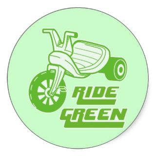 Ride Green Big Wheel Round Stickers