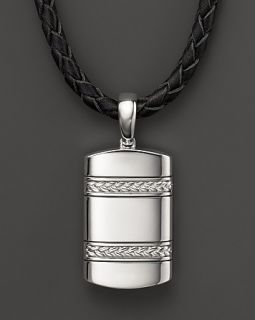 Silver Pendant on Black Leather Necklace, 22