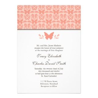 Pink and Brown Damask Butterfly Wedding Invitation