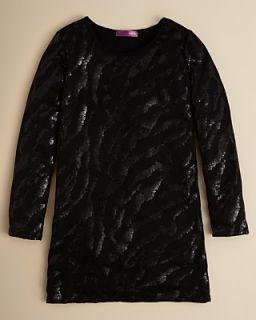 Aqua Girls Zebra Sequin Long Sleeve Dress   Sizes S XL