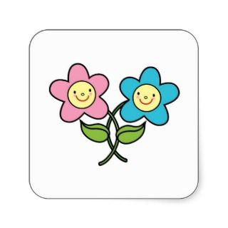 Intertwined Boy and Girl Flowers Square Sticker