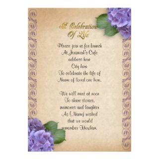 celebration of life invitation with hydrangea flowers invite family