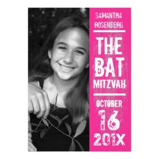 Rock Band Bat Mitzvah Invitation in Pink