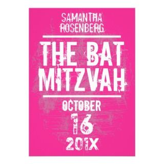 Rock Band Bat Mitzvah Invitation in Pink invitations by Lowschmaltz