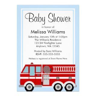 Modern Fire Truck Boy Baby Shower Personalized Invite