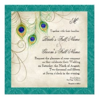 Peacock Feathers Wedding Invitation   Teal Blue