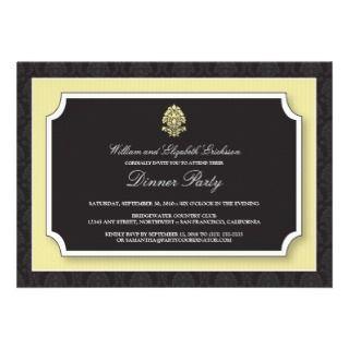 Elegant Damask Dinner Party Invitation (ivory)