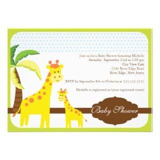 Cute Little Giraffe Baby Shower Invitation