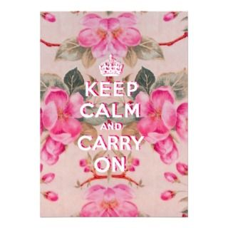 Girly keep calm..Vintage pink elegant floral roses Custom