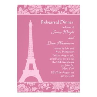 Candy Pink in Paris Rehearsal Dinner Inviaions