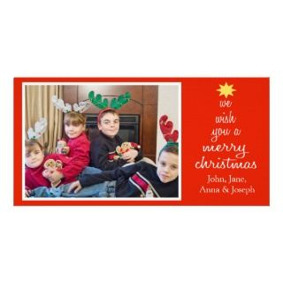 We Wish You A Merry Christmas Photocards (Black) Customized Photo Card