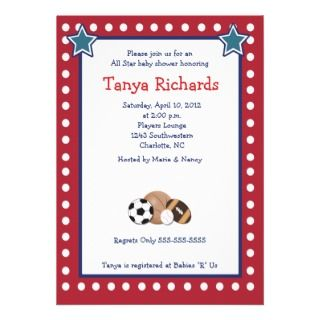 Sports All Stars Red Border Baby Shower Invitation