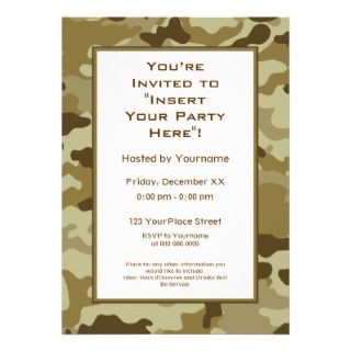 Camo Military Theme Birthday Party Custom Invitation