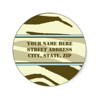 Brown Zebra Print with Baby Blue Address Labels Round Stickers