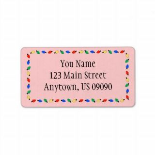 Christmas Lights Border Address Labels (Red)