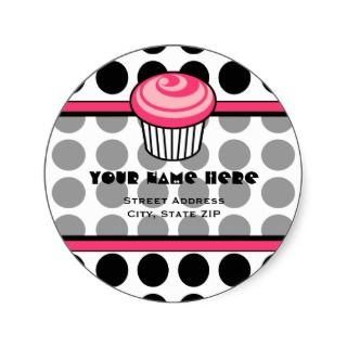 Pink Cupcake Address Label   Black Polka Dot Sticker