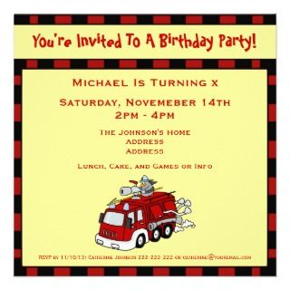 Fire Truck Fireman Cute Custom Kids Birthday Party Announcements