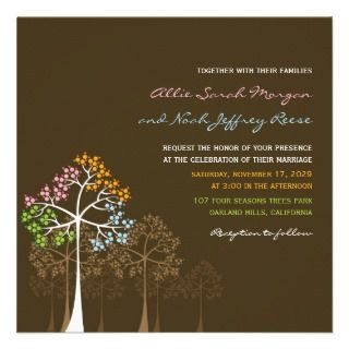 Four Seasons Colorful Trees Wedding Invite