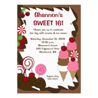 SWEET SIXTEEN 16 Candy Birthday Party Personalized Announcement