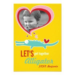 Cartoon Alligator Classroom Valentine Photo Invitation