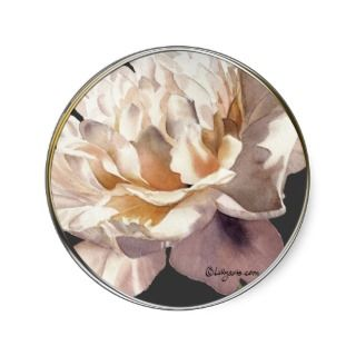 Warm Glow on Dark Peony Wedding Invitation Seal Round Sticker