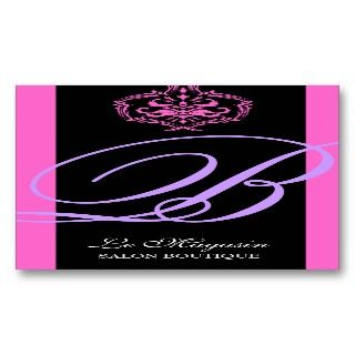 Damask Monogram Pink & Purple Business Card Template