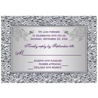 PRINTED RIBBON Purple Silver Wedding Invitation II