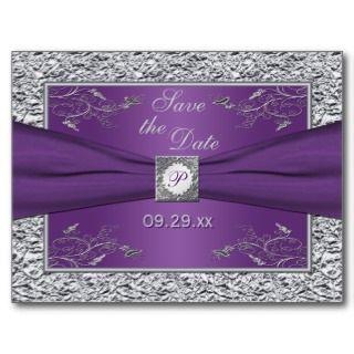 PRINTED RIBBON Purple Silver Wedding Invitation