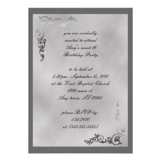 Elegant Silver Scroll Art Deco Invitation
