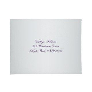Purple, Silver Gray Floral Envelope for RSVP Card by NiteOwlStudio