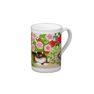 Tiger Cat in Patio Jungle Bone China Mug