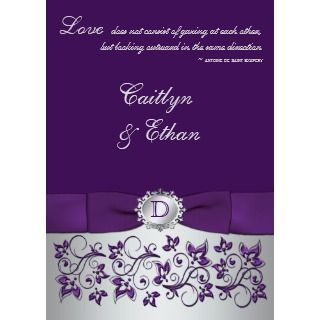 Monogram Purple, Silver Floral Wedding Invitation by NiteOwlStudio
