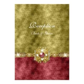 Red gold olive damask wedding personalized announcements